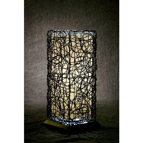Lampe de table fluorescente d'intérieur et d'extérieur en acier noir et résine tressée avec ampoule T-5, 21 po