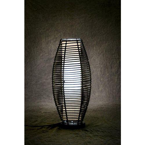 Lampe de table fluorescente d'intérieur et d'extérieur en résine tressée avec ampoule T-5 et base lestée, 17 po