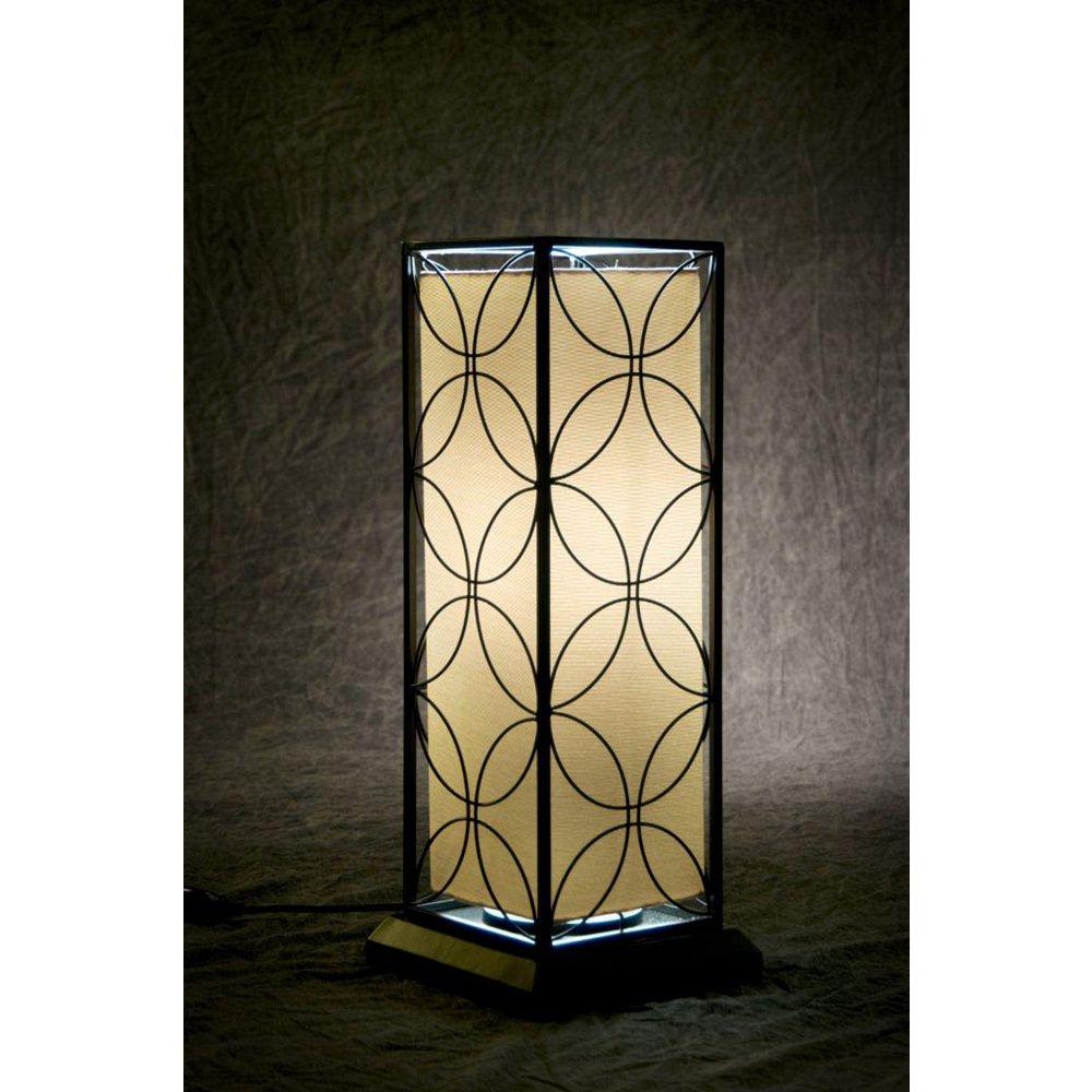 Bionic Lighting 24 Inch Black Steel Frame Floral Design Indoor / Outdoor Fluorescent Table Lamp w/ T-5 bulb