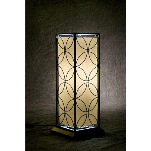 Lampe de table fluorescente d'intérieur et d'extérieur avec cadre en acier noir à motif floral et ampoule T-5, 24 po