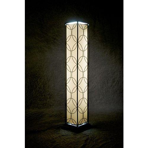 Lampadaire fluorescent d'intérieur et d'extérieur avec cadre en acier noir à motif floral et ampoule T-8, 45 po