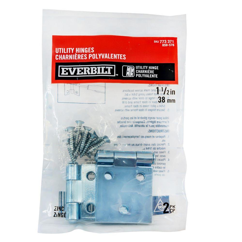Everbilt Charnière utilitaire 1 1/2 po plaquée zinc, 2pk