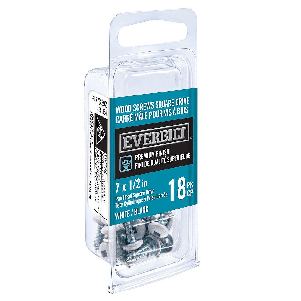 Everbilt #7x1/2 Inch White Wood Screw Sq Dr (18-Pack)