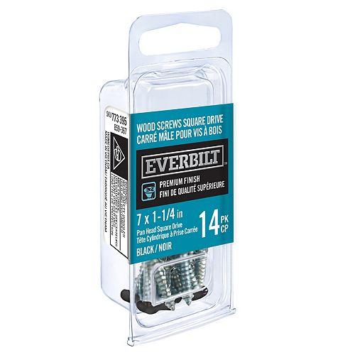 #7 x 1 1/4-inch Black Wood Screw (14-Pack)