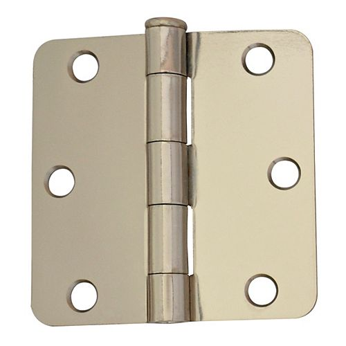 3-inch Bright Nickel 1/4rd Door Hinge (2-Pack)
