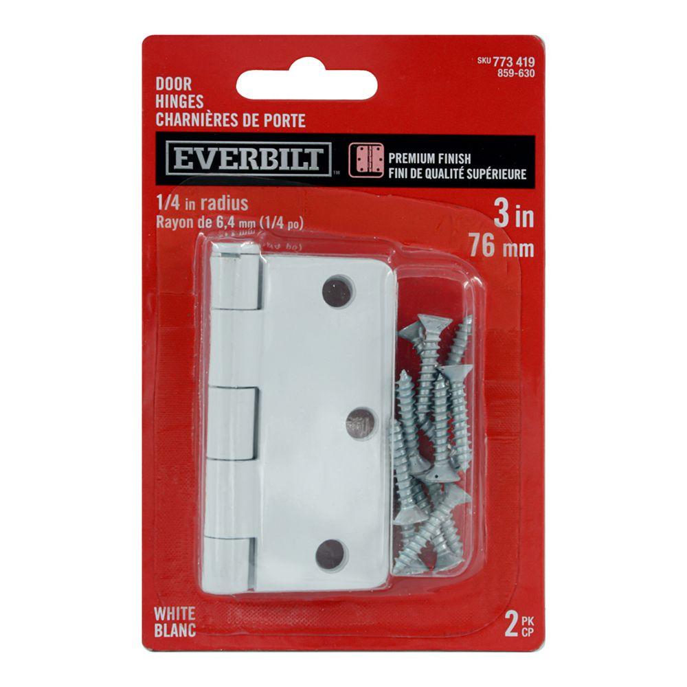 Everbilt 3-inch White 1/4rd Door Hinge (2-Pack)