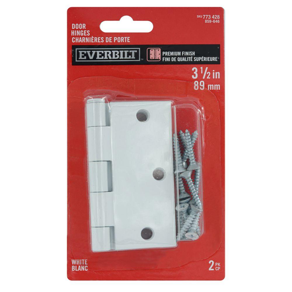 Everbilt 3 1/2-inch White Door Hinge (2-Pack)