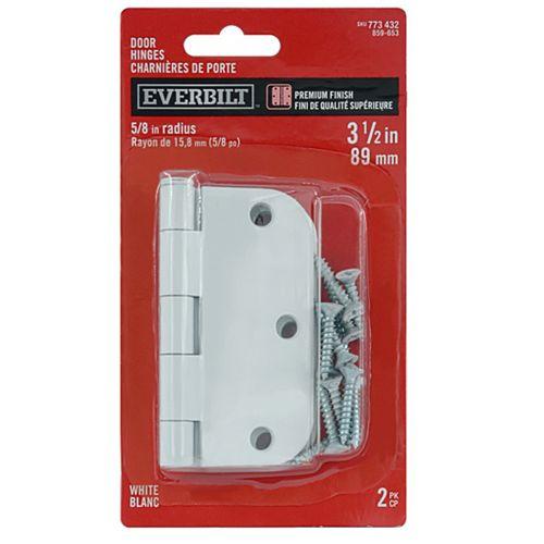 Charnière de porte blanche de 3-1/2 po avec rayon de 5/8 po, 2pk