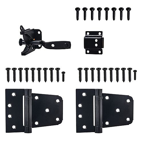 Everbilt Kit Portillon à Fermeture Automatique en Noir - 4pk