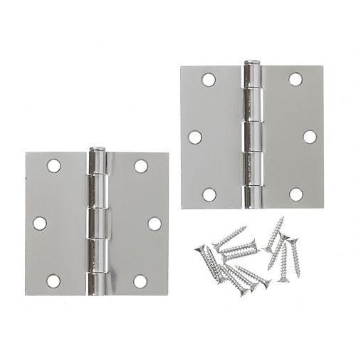 3 1/2-inch Bright Nickel Door Hinge (2-Pack)