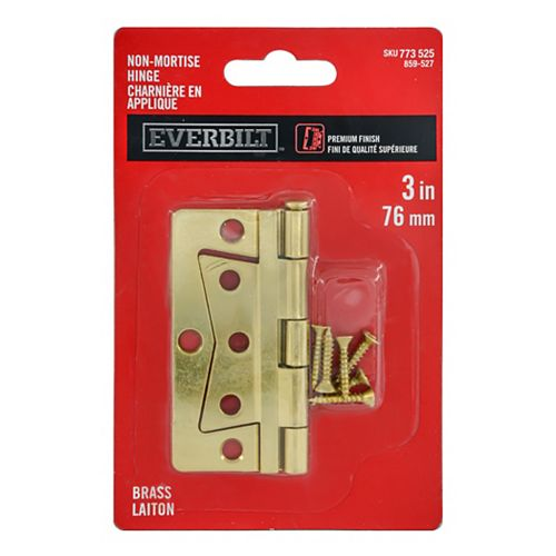 3-in Brass with 1/4-in Radius Non-Mortise Hinge, 1pc