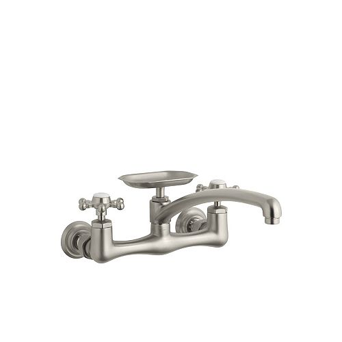Antique Wall-Mount Sink Faucet With 12 Inch Spout And Six-Prong Handles