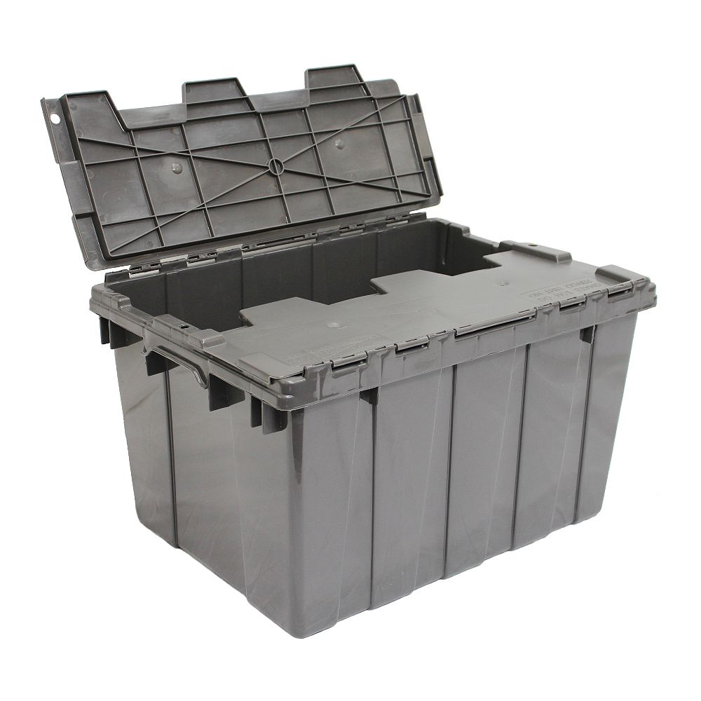 GSC Commercial Flip-Top Storage Tote in Grey, 45 L