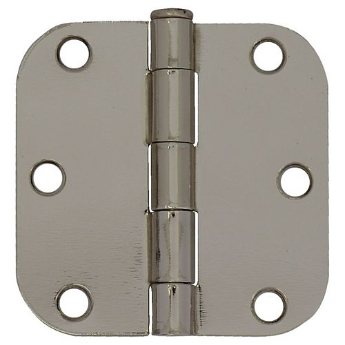 3-inch Bright Nickel 5/8rd Door Hinge (2-Pack)