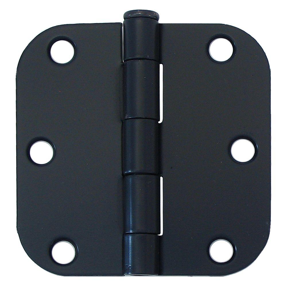 Everbilt 3-in with 5/8-Radius Door Hinge, Black, 2pk