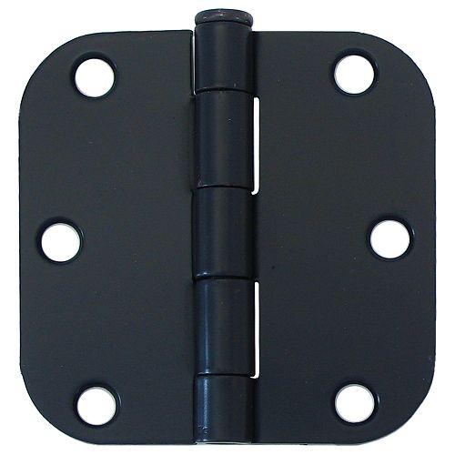 3-in with 5/8-Radius Door Hinge, Black, 2pk