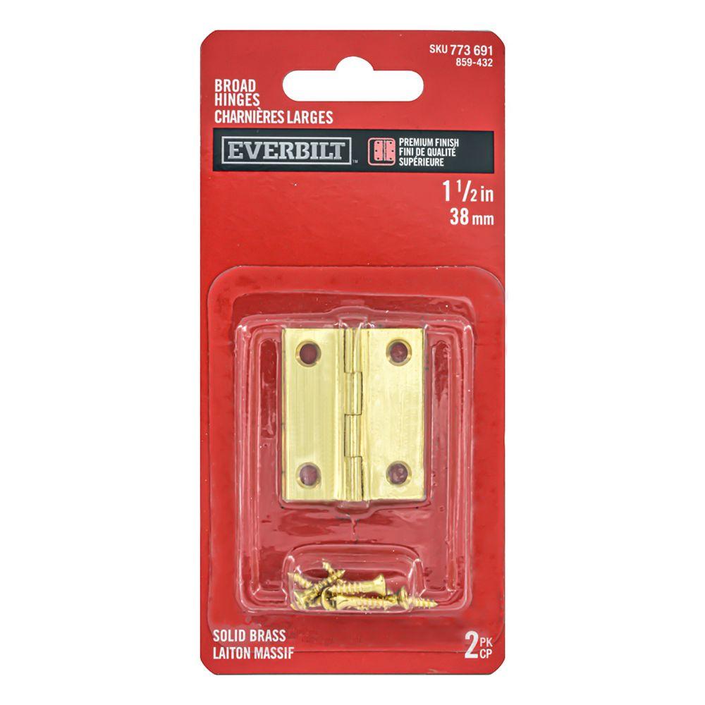 Everbilt 1-1/2 Inch Solid Brass Broad Hinge (2-Pack)
