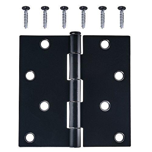 4-Inch Utility Hinge in Black - 1pk