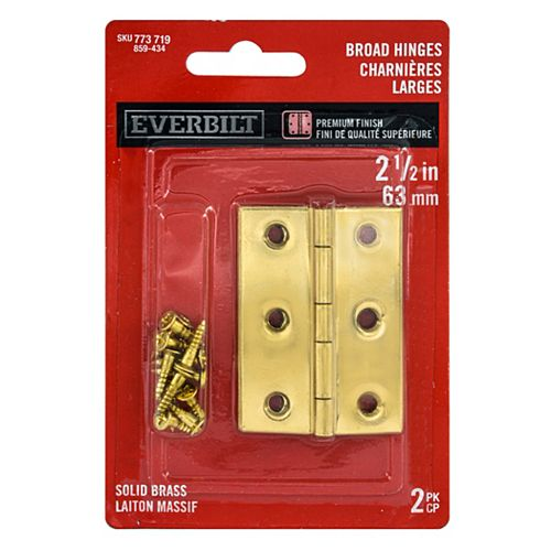 2-1/2-in Solid Brass Cabinet Broad Hinge, 2pk