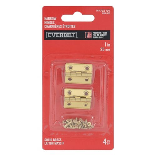 1 -in Solid Brass Narrow Hinge, 4pc
