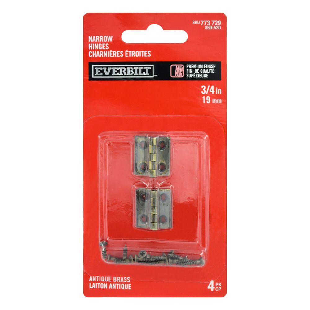 Everbilt 3/4 Inch Antique Brass Narrow Hinge (4-Pack)