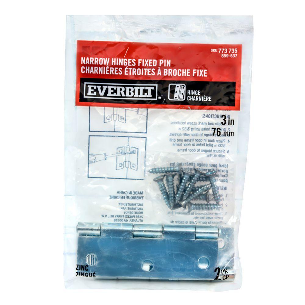Everbilt 3-in Zinc-Plated Narrow Hinge Fixed Pin, 2pk