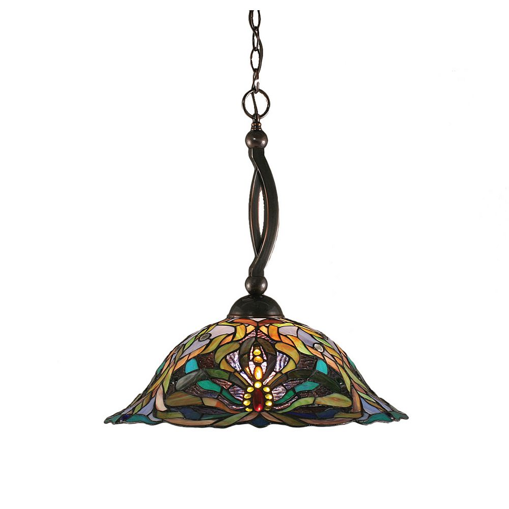 Filament Design Concord 1-Light Ceiling Black Copper Pendant with Kaleidoscope Tiffany Glass