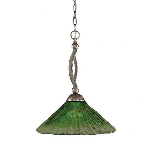 Concord plafond à 1 lumière, nickel brossé Pendeloque à incandescence avec un cristal en verre vert
