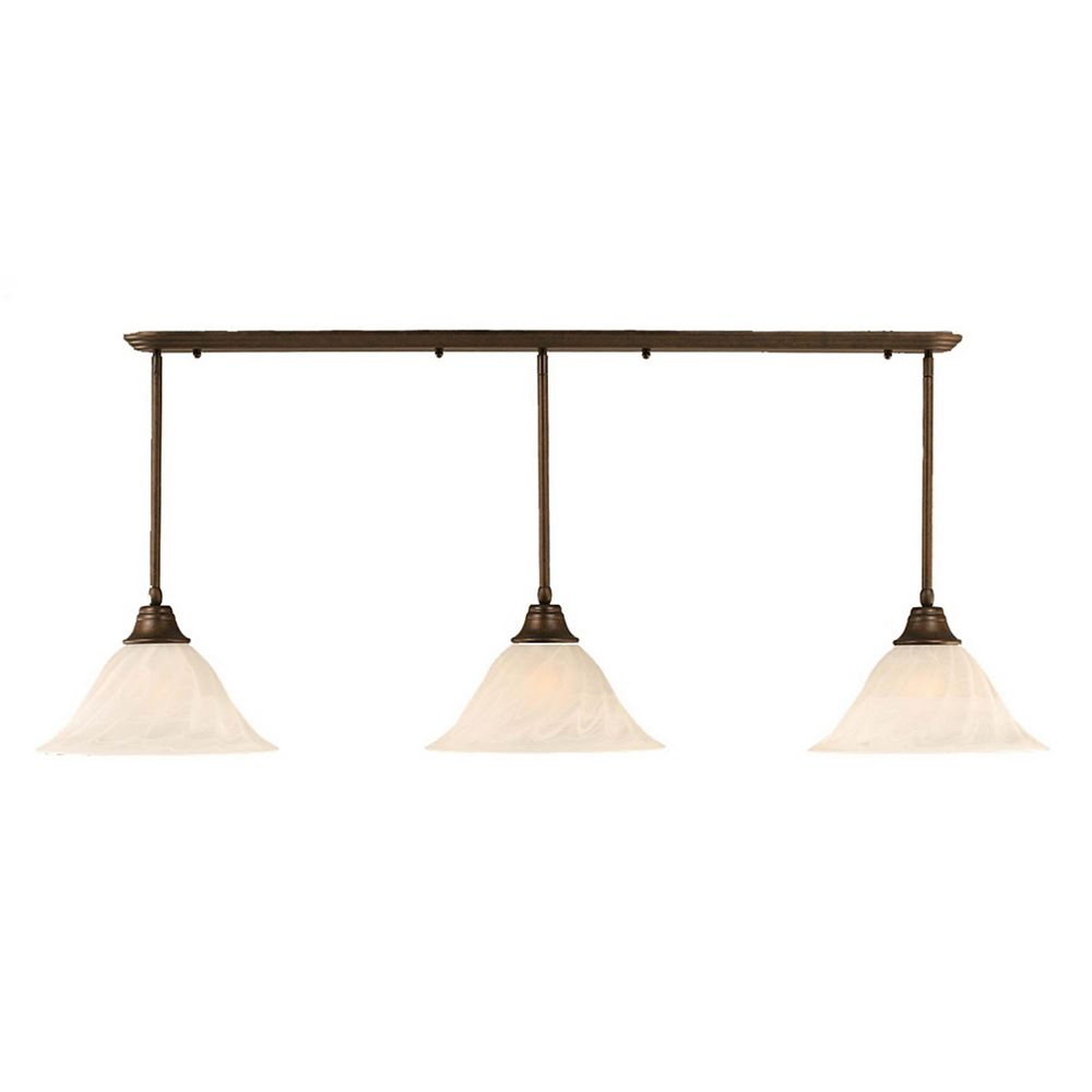 Filament Design Concord 3 Light Ceiling Bronze Incandescent Pendant with an Alabaster Glass