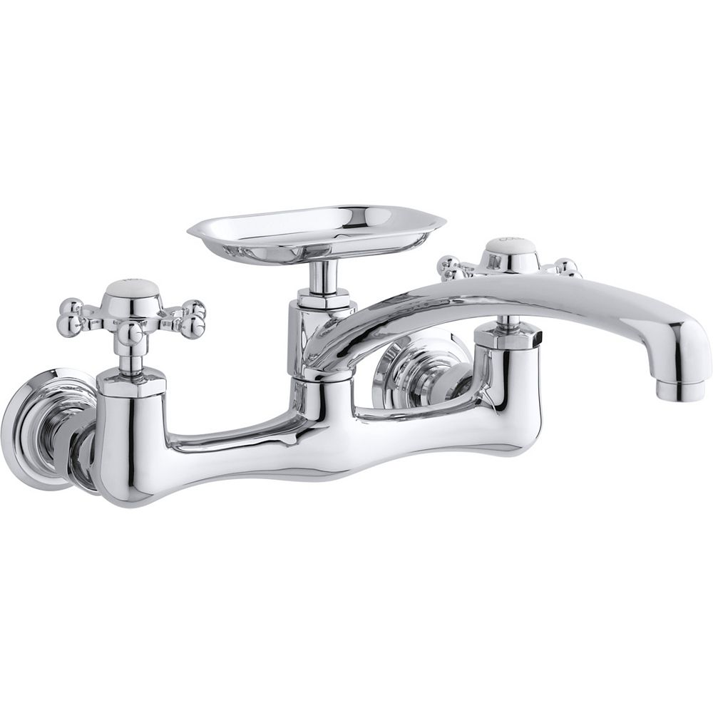 KOHLER Antique Wall-Mount Sink Faucet With 12 Inch Spout And Six-Prong Handles