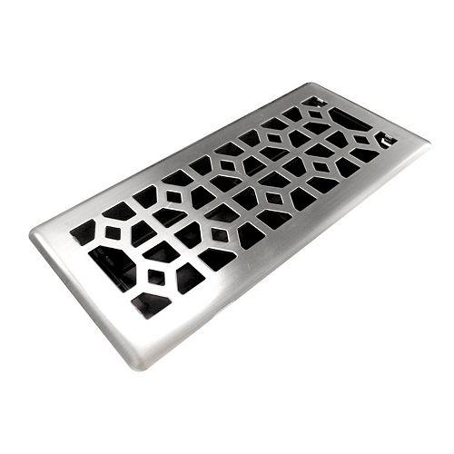 4x10 Designer Abstract Brushed Nickel Floor Register