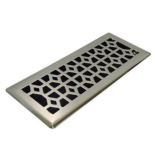 4x12 Designer Abstract Brushed Nickel Floor Register