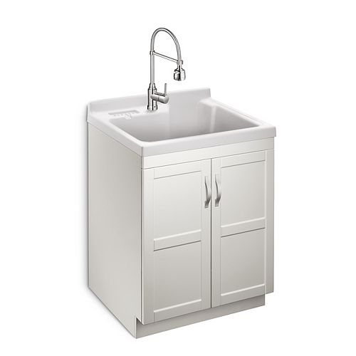 Deluxe All in One 28-inch 2-Door Laundry Cabinet with ABS Basin and Dual Spray Faucet