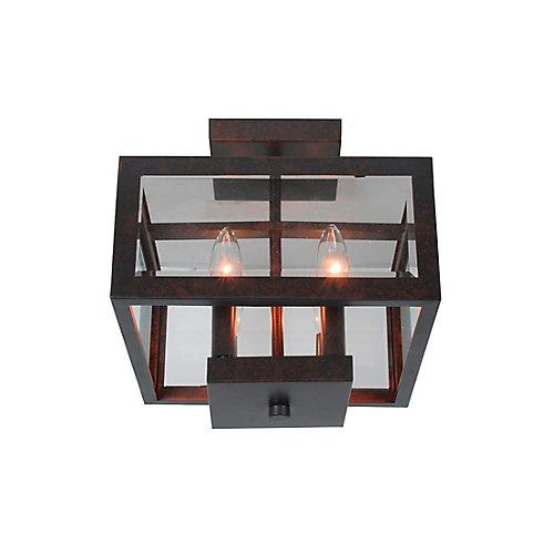 11-inch 4-Light Oxide Brass Semi-Flush Mount with Tallarook Panel Glass Shade