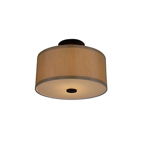 Semi-plafonnier tambour à 2ampoules avec diffuseur Glenburn, fini bronze huilé et tissu