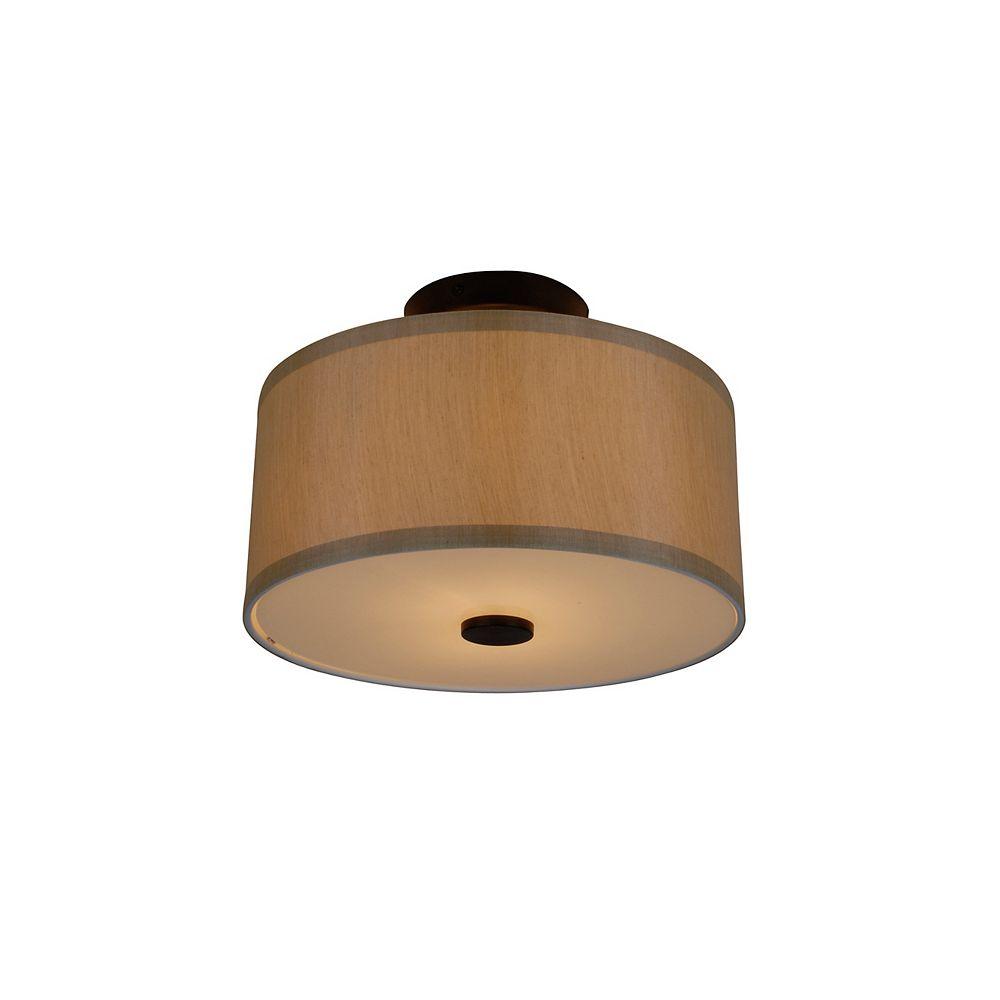 Hampton Bay Semi-plafonnier tambour à 2 ampoules avec diffuseur Glenburn, fini bronze huilé et tissu