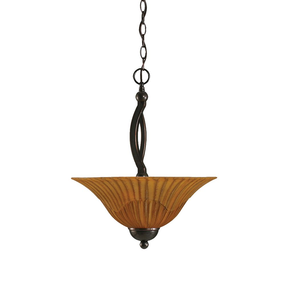 Filament Design Concord 2-Light Ceiling Black Copper Pendant with a Tiger Glass