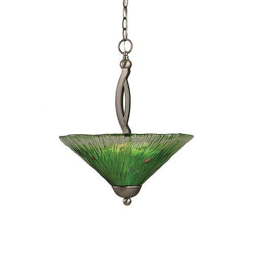 Concord plafond à 2 lumières, nickel brossé Pendeloque à incandescence avec un cristal en verre vert