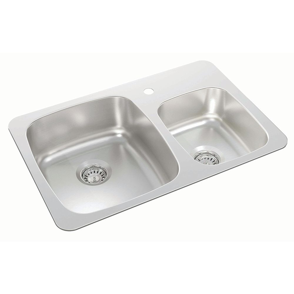 Wessan One and Three-Quarters Bowl Drop-in Sink in Stainless Steel