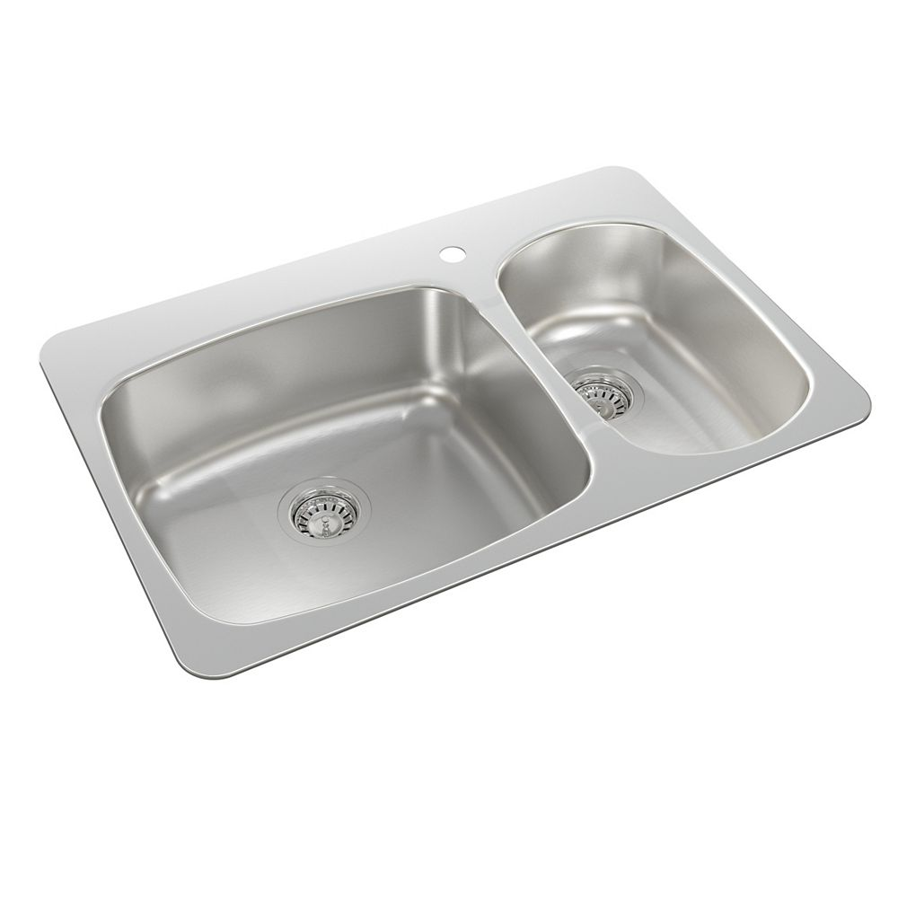 Wessan Stainless Steel One and a Half Bowl Drop-in Sink