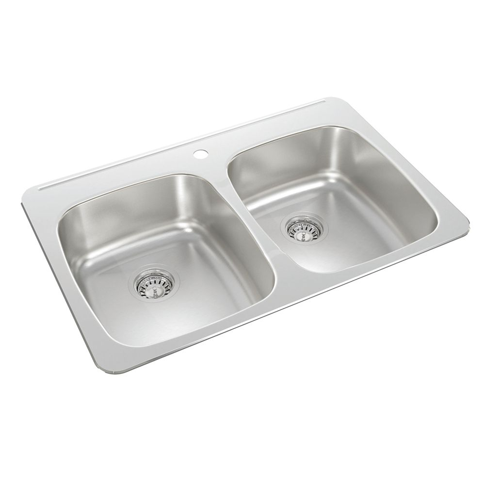 Wessan Double Bowl Drop-in Sink in Stainless Steel