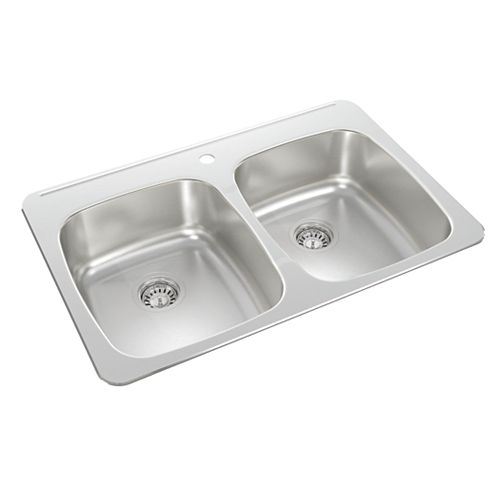 Double Bowl Drop-in Sink in Stainless Steel