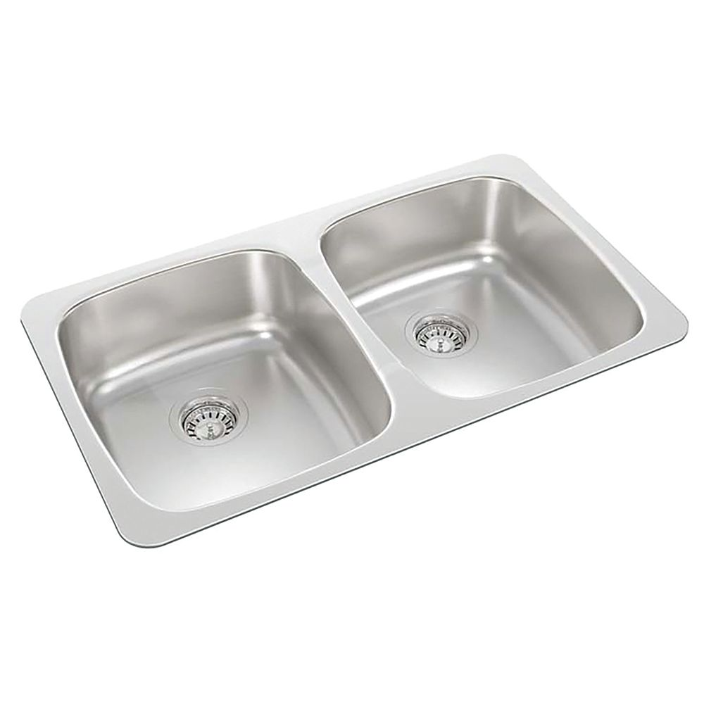 Wessan Stainless Steel Double Bowl Drop In Sink Without A Ledge The Home Depot Canada
