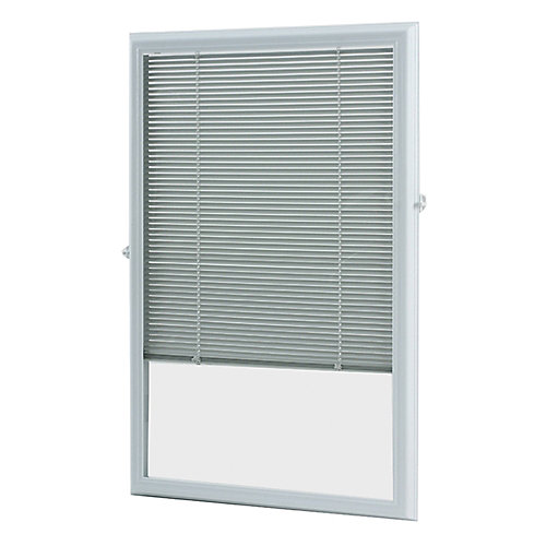 22-inch x 36-inch White Aluminum Add-on Blind for Half View Doors