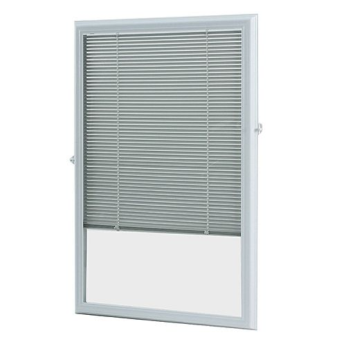 20-inch x 36-inch White Aluminum Add-on Blind for Half Light Doors