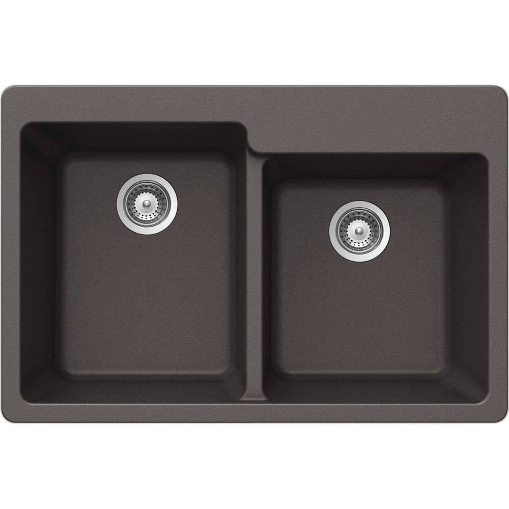 Wessan Granite One and Three-Quarters Bowl Drop-in Sink in Steel
