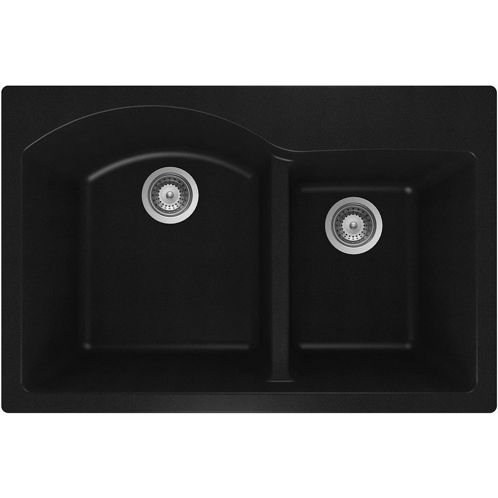 Wessan Granite One and Three-Quarters Bowl Drop-in Sink in Black
