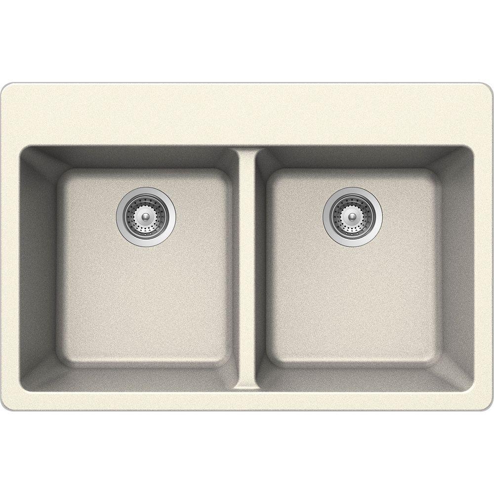 Wessan Granite Double Bowl Drop-in Sink in Magnolia