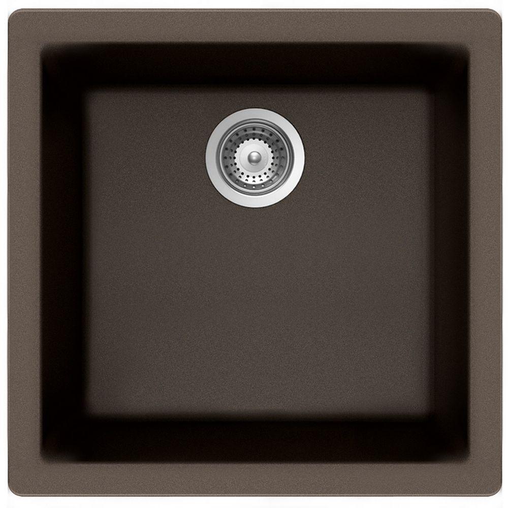Wessan Évier en granit à une cuve à montage universel en bronze
