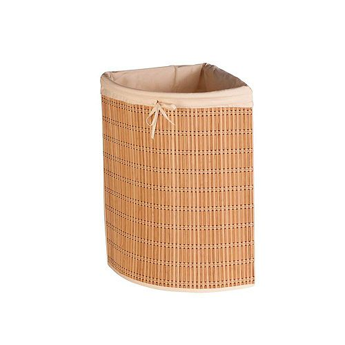 Honey-Can-Do Bamboo Wicker Corner Laundry Hamper